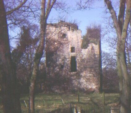 Castle Cathcart.  View of Castle from Court Knowe in April 1978.
